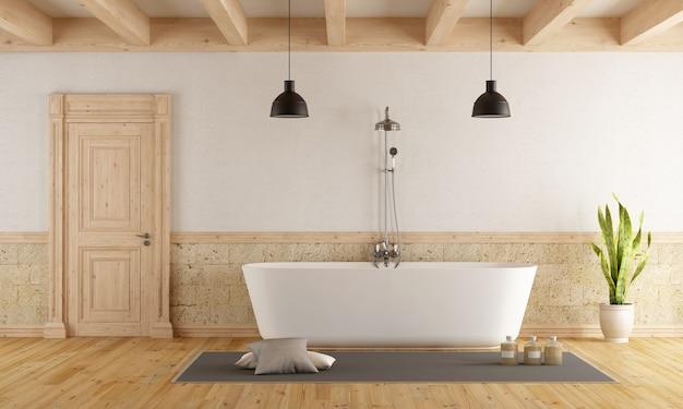 Bagno in stile rustico con vasca moderna. rendering 3d