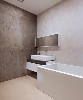 Bagno in stile techno con pareti testurizzate in cemento decorativo e marmo color crema