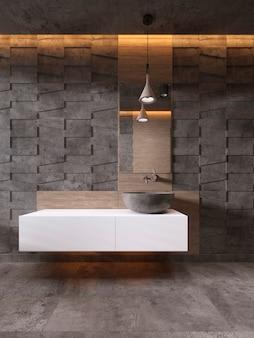 Mobile da bagno lavabo in pietra colore bianco, stile contemporaneo. rendering 3d