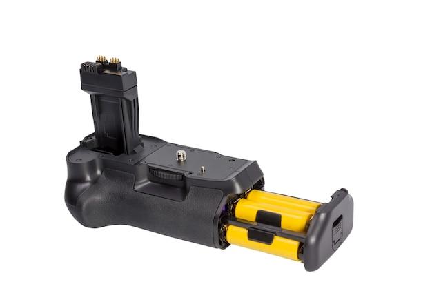 Impugnatura batteria per fotocamera dslr moderna isolata su sfondo bianco