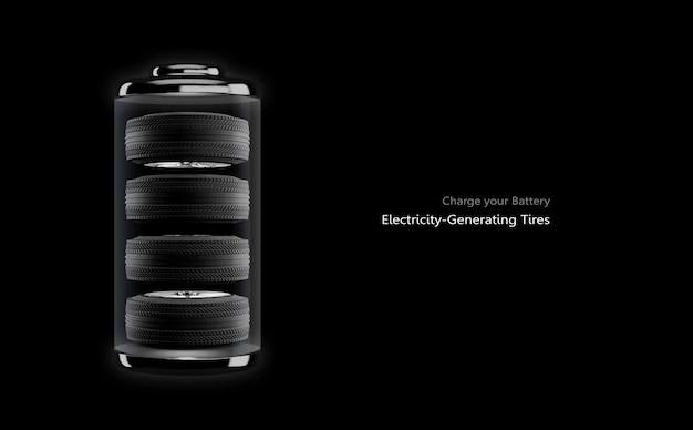 Icona della batteria con 4 pneumatici all'interno su sfondo nero
