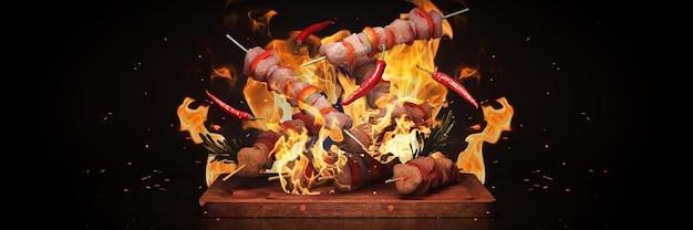 Rendering 3d di spiedini per barbecue barbecue