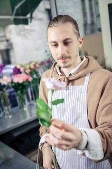 Sii attento. bella persona di sesso maschile che allunga la mano mentre mostra rosa preferita