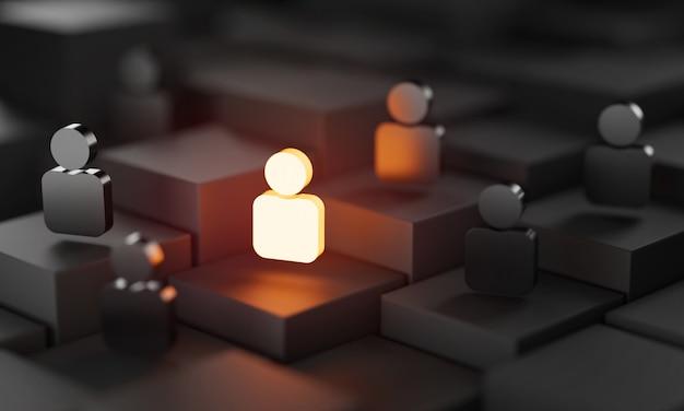 Be different 3d concept, one man glowing tra le altre persone in condizioni di oscurità