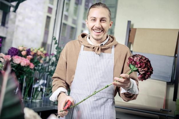 Siate felici. uomo allegro che mantiene il sorriso sul suo volto mentre si tiene il fiore nella mano sinistra