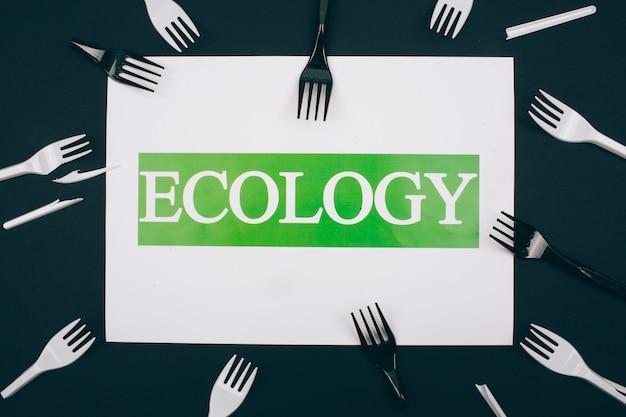 Sii privo di plastica. carta con la parola ecologia al centro delle forcelle di plastica monouso in bianco e nero su fondo scuro. la plastica è un problema ambientale.
