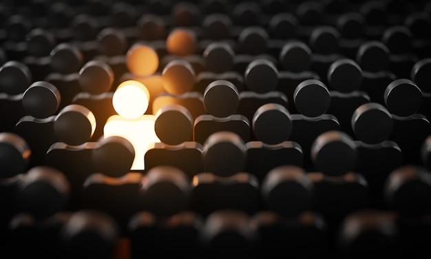 Sii straordinario il concetto 3d, un uomo che brilla tra le altre persone in condizioni di oscurità