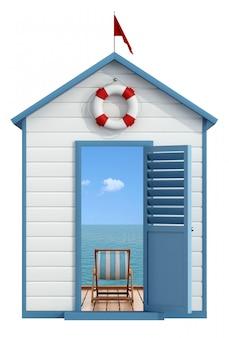 Cabina al mare con porta aperta, all'interno di un molo sul mare con sdraio