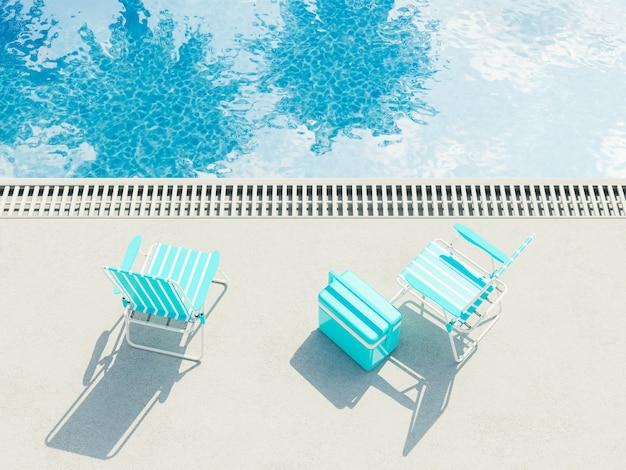 Sedie a sdraio con refrigeratore accanto a una piscina con riflessi di palme. concetto di vacanza estiva. rendering 3d