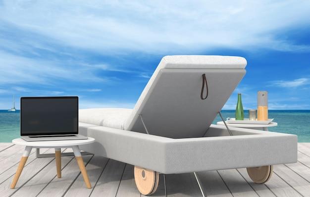 Il salotto e il computer portatile sulla spiaggia sul mare. rendering 3d