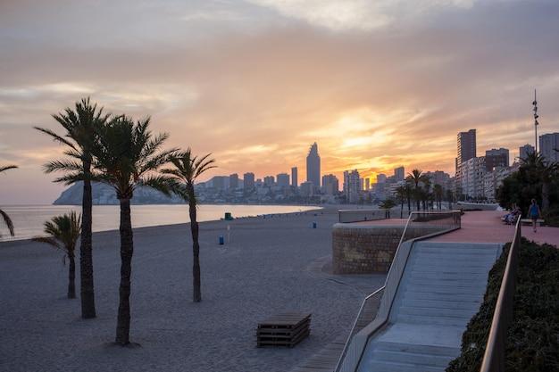 Tramonto sulla spiaggia in spagna con palme