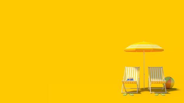 Fondo di concetto di vacanza di vacanza estiva di viaggio della spiaggia con lo spazio della copia, rappresentazione 3d