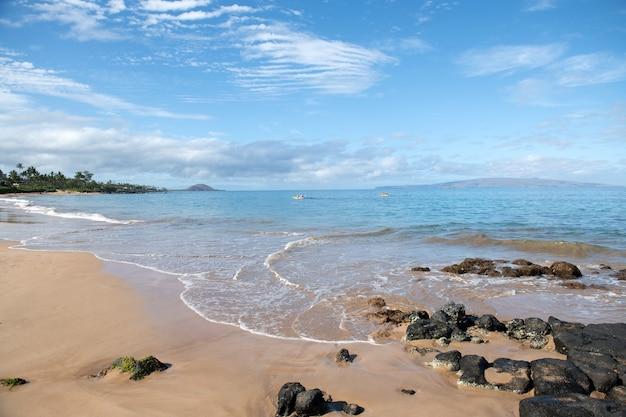 Spiaggia e mare tropicale. fondo del paesaggio dell'oceano della natura.