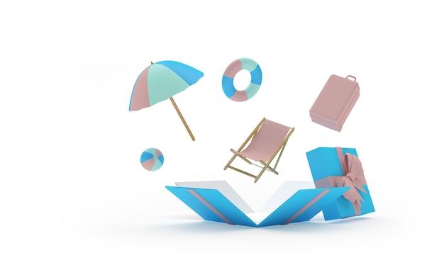 Ombrellone con chaise longue vola fuori da una confezione regalo
