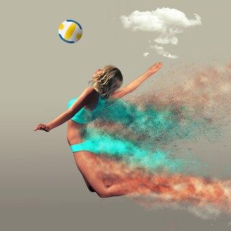 Il giocatore di beach volley si rompe nelle particelle