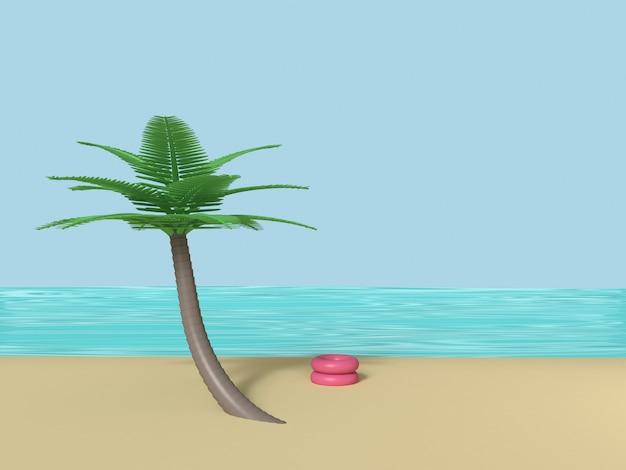 Spiaggia con la rappresentazione del cielo blu 3d del cocco