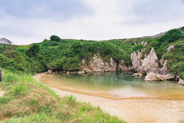 Spiaggia con vegetazione che la circonda.