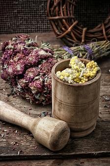 Erbe curative del legamento del fascio medicina tradizionale e pestello