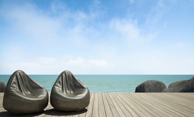 Sacco di fagioli sulla terrazza in legno al rendering 3d vista mare