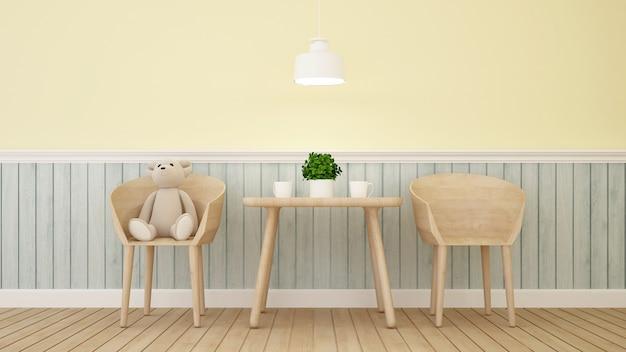 Sopporti la bambola sulla stanza del bambino o del caffè - rappresentazione 3d