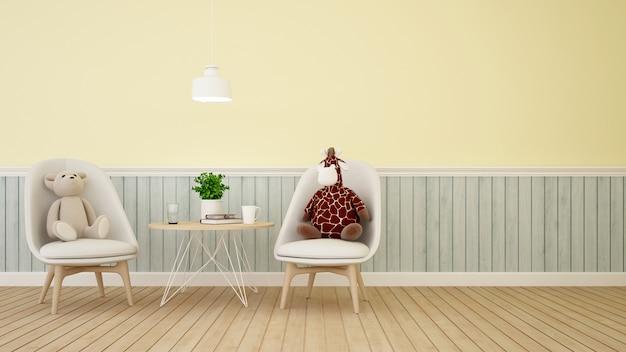 Orso e bambola della giraffa nella sala da pranzo o nella stanza del bambino sulla rappresentazione color pastello 3d