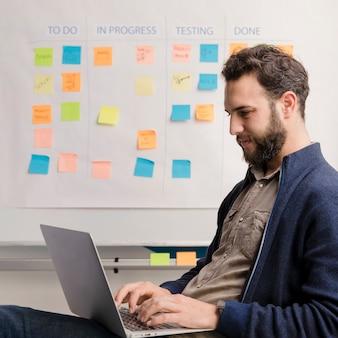 Uomo barbuto che lavora al metodo aziendale
