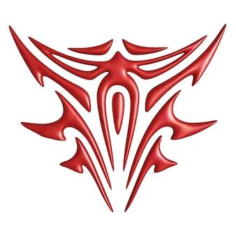 Bella illustrazione 3d con simbolo diabolico rosso colorato astratto isolato su sfondo bianco