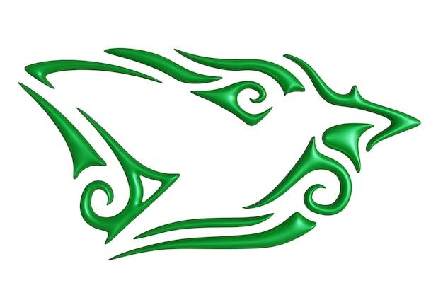 Bella illustrazione 3d con motivo vintage verde colorato intorno alla sagoma di un colibrì bianco