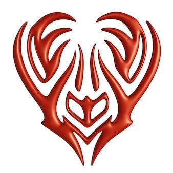 Bella illustrazione 3d con forma di cuore stilizzato rosso colorato isolato su sfondo bianco