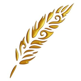 Bella illustrazione 3d con forma di piuma stilizzata dorata isolata su sfondo bianco