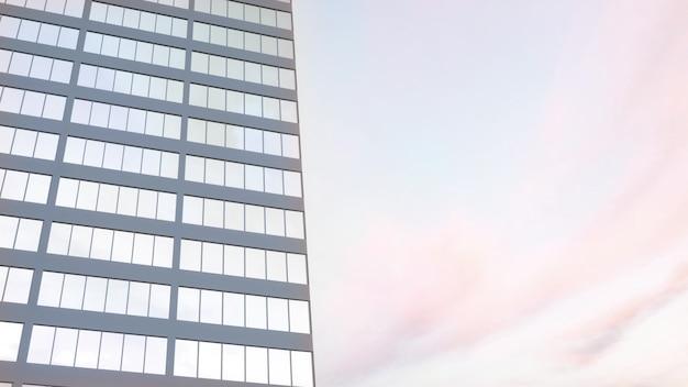 Bella facciata astratta del grattacielo con i riflessi del cielo. rendering 3d.