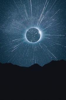 Bello concetto astratto dello spazio con le stelle cadenti