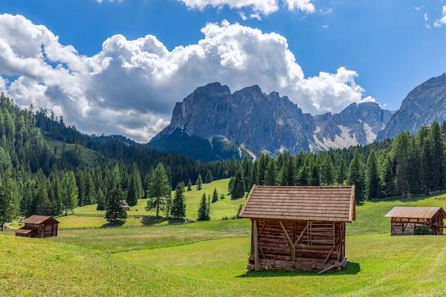 Bellissimo paesaggio alpino con prati appena tagliati su uno sfondo di montagne dolomitiche italiane.
