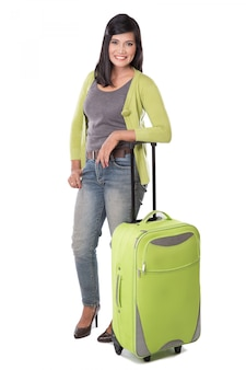 Bella valigia asiatica della tenuta della donna