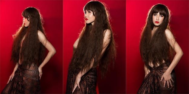 La bella donna asiatica con i capelli lunghi e ricci esprime una forte sensazione attraverso i suoi occhi, anche lei nuda o in topless su sfondo rosso