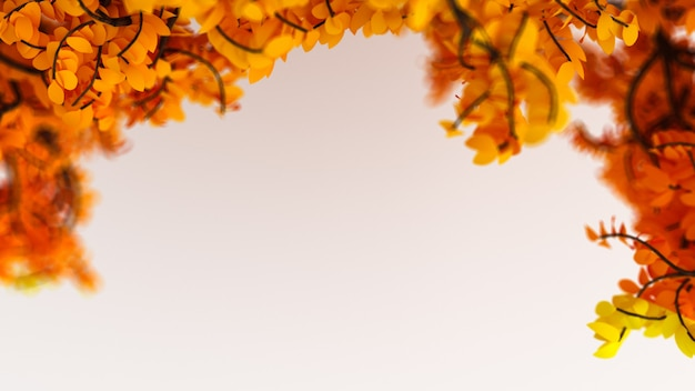 Bellissimo sfondo autunnale con foglie e spazio bianco. rendering 3d.