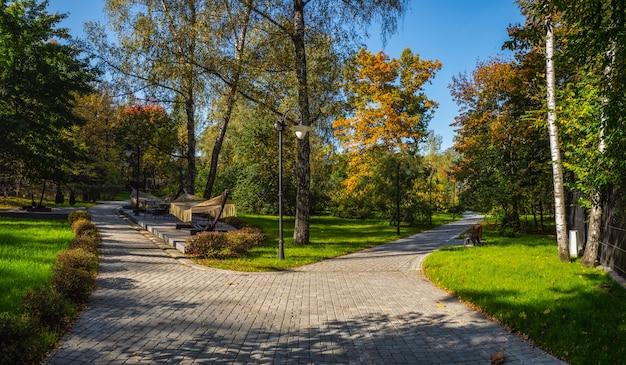 Bella vista autunnale del parco sokolniki a mosca. biforcazione della strada.