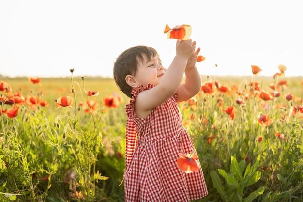 Bella neonata in vestito rosso che tiene fiore sul campo dei papaveri al tramonto estivo