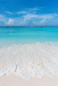 Bellissima spiaggia di sabbia e mare sullo sfondo