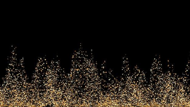 Bellissimo sfondo nero con glitter dorati. illustrazione 3d, rendering 3d.