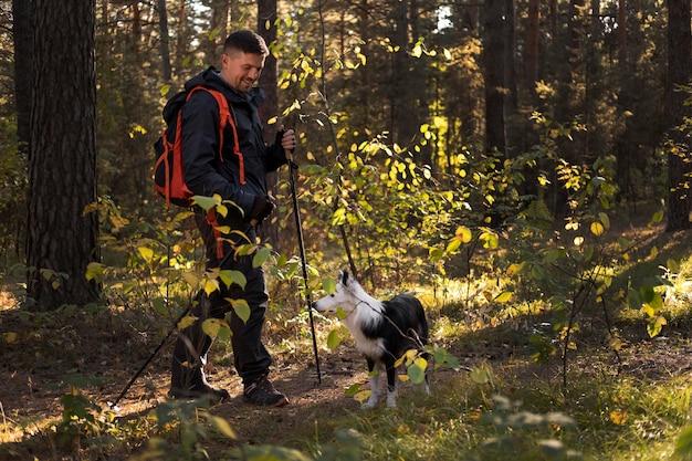 Bellissimo cane bianco e nero che cammina nel bosco