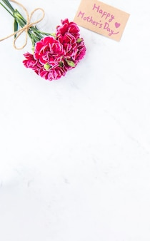 Bellissimi garofani in fiore legati da prua con carta di testo kraft isolato su un luminoso tavolo moderno, copia spazio, piatto laico, vista dall'alto