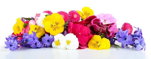 Bellissimo bouquet di fiori luminosi su bianco