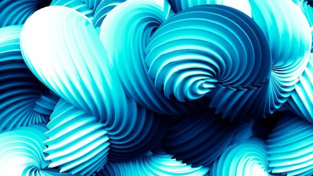 Bellissimo sfondo blu positivo brillante con forme astratte. rendering 3d.