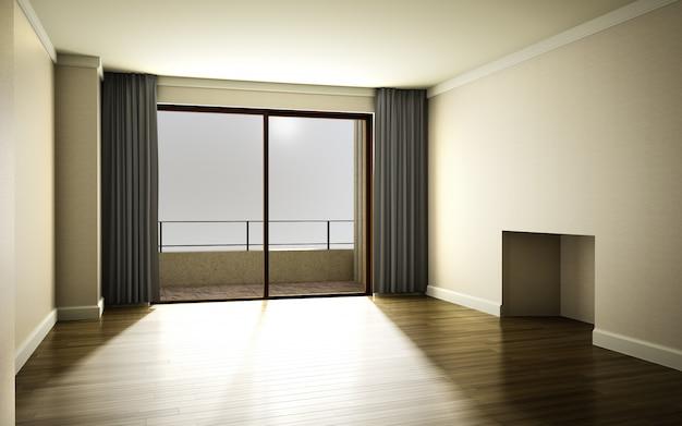 Bella luminosa camera calda con luce del sole che passa attraverso, decorato con tenda e parq
