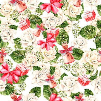 Bellissimo motivo di capodanno ad acquerello luminoso con fiori di rose, foglie, regali e giocattoli. illustrazione