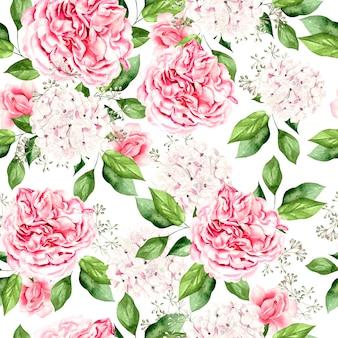 Bellissimo motivo ad acquerello luminoso con fiori di peonia e ortensia. illustrazione
