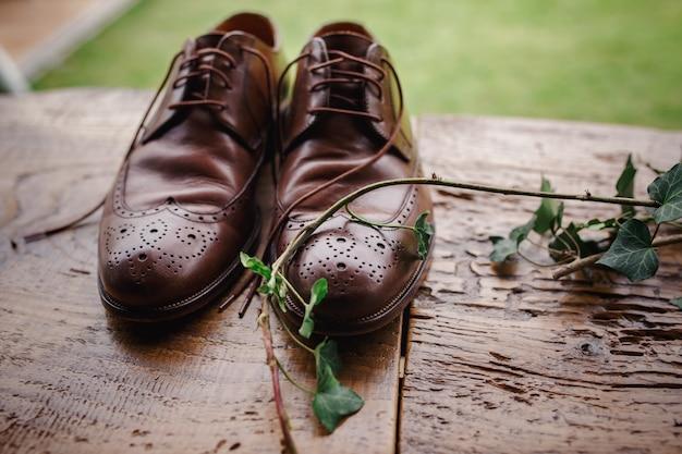 Belle scarpe alla moda marroni dello sposo su una tavola di legno con il ramo dell'edera
