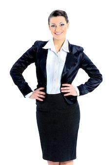 Bella donna d'affari bei sorrisi isolati su uno sfondo bianco