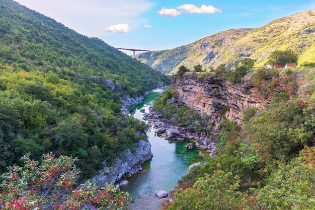 Bellissimo canyon del fiume moracha in montenegro.
